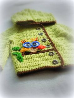 colorful crochet sweater with an owl applique - for kids