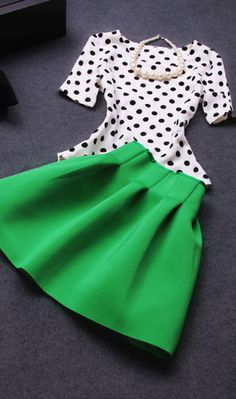 Two-piece suit Skirt Dot Dress
