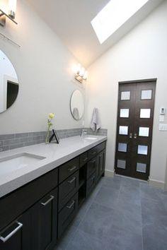 Viatera | Geneva | Jordan Iverson Signature Homes | modern master bathroom with barn door sliders #Quartz #BathroomRenovation