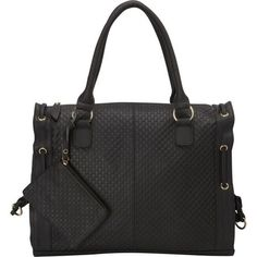 Embossed Leather Bag  Stylish 24/7…365. This black leather woven handbag features a roomy main compartment, rear exterior zip pocket and separate pockets for cell phone, pen etc… The 8 inch drop rolled handle is strong enough to hang on your shoulder or be carried in hand.  #EsdiEssel #LeatherGoods