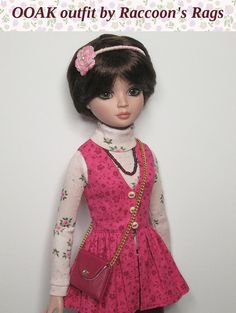 Raccoon's Rags at Etsy: OOAK Ellowyne Wilde 'Autumn Rose' outfit, with accessories.