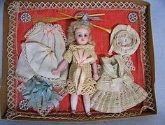 "SOLD 4.75"" French All Bisque with Wardrobe - Faraway Antique Shop #dollshopsunited"