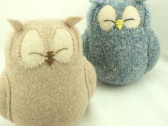 Felt Owl Ornament Light  Beige Felted Wool Lamb by ForMyDarling, $29.00