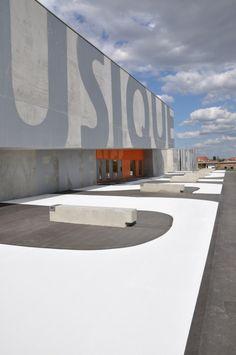 Gallery of Maizières Music Conservatory / Dominique Coulon & Associés - 2 Industrial Signage, Industrial Architecture, Factory Architecture, Architecture Design, Concrete Architecture, Warehouse Design, Building Signs, Amiens, Factory Design
