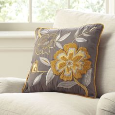 Marigold Embroidered Pillow Cover | Crisp, contrasting shades of gray and yellow on plush velvet give this modern floral style a uniquely exotic touch. Dry clean only.