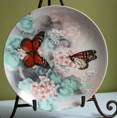 Display Plate Hand Painted and Signed by Lena Liu. Monarch Butterflies…