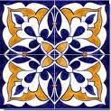 Blue Gold and White Tile
