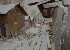 """""""Sheds"""" oil  60 x 40 cm - Yury Vasendin (B.1958, Arkhangelsk) Self-taught artist"""