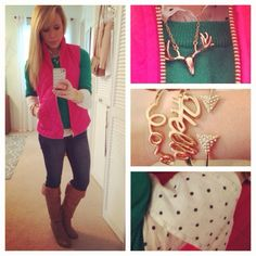 Old Navy vest, JCP sweater, J.Crew button-up, American Eagle jeans, DSW boots, Forever 21 bracelets & necklace
