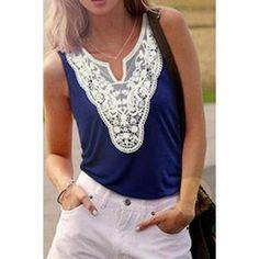 Stylish Scoop Neck Sleeveless Lace Spliced Women's Tank Top