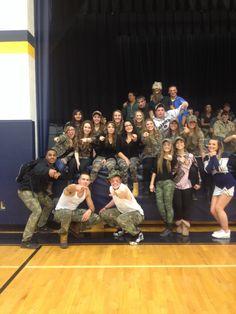 Camo Theme. School Spirit. Game Theme. High School. Basketball Game.
