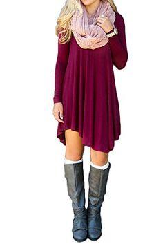 Women's Long Sleeve Casual Loose T-Shirt Dress Wine Red XS DEARCASE http://www.amazon.com/dp/B01AA6PN00/ref=cm_sw_r_pi_dp_fkONwb0AYBFVC