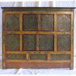 #Antique Asian Chinese Tibetan Furniture Cabinet Chest 4 Hidden Door Cabinet Yellow & Blue-Green