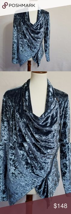 BLANK NYC Crush Velvet Drapery Jacket size M NWT BLANK NYC Blue Crush Velvet Drapery Jacket size M. NEW WITH TAGS. HOST PICK 11/28/17  Asymmetrical zip front closure. Long sleeves Shawl collar. Hem drops at the front. 95% poly 5% spandex  Armpit to armpit 18 inch Front Length:  17 inch on the front shortest part and 24 inch on the longest.  Back length: 20 inches Blank NYC Jackets & Coats