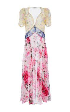 Natalia Mix Georgette Flower Printed Dress  by ATTICO Now Available on Moda Operandi