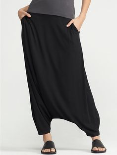 Details about Eileen Fisher Plus Black Jersey Slouchy Pull On Harem Pants With Pockets Neu mit Tags in Kleidung, Schuhe & Accessoires, Damenbekleidung, Hosen Plus Size Harem Pants, Black Harem Pants, Black Slacks, Eileen Fisher, Look Fashion, Womens Fashion, Fashion Design, Fashion Details, Vetements Clothing