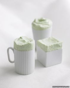 Frozen Green Tea Souffles Ingredients  1/3 cup boiling water 1 tablespoon powdered green tea (from www.specialteas.com), plus more for dusting 1/2 cup sugar 5 large egg yolks 1 1/4 cups cold heavy cream 1 tablespoon creme de menthe