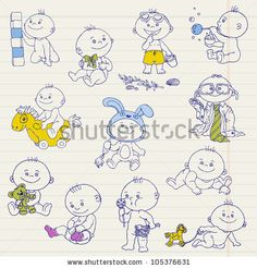 stock vector : Baby Boy Doodle Set - for design, scrapbook, shower or arrival cards - in vector