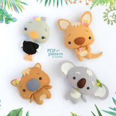Set of 4 Australian animal toy PDF patterns, Cute felt Koala, Kangaroo, Ostrich and Wombat plush toys, Baby crib mobile toys Felt Animal Patterns, Stuffed Animal Patterns, Felt Diy, Felt Crafts, Needle Felting Tutorials, Felt Christmas Decorations, Australian Animals, Felt Animals, Baby Animals