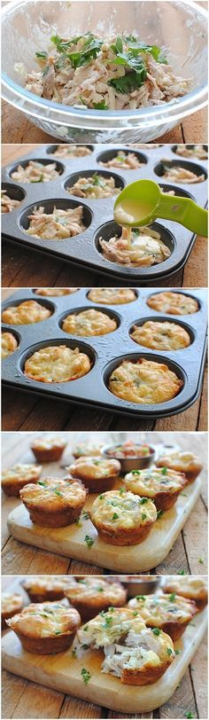 Mini Tex-Mex Chicken and Cheese Pies~instead of the Bisquick, use a few eggs and cheddar or pepper jack cheese to bind it for LC