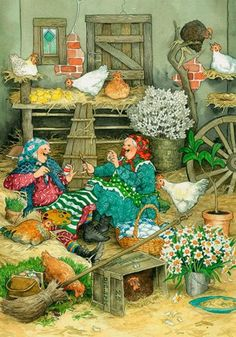 "❤ ""Inge, Look! When We've Finished, We'll Start Painting The Hens"" ~ Artist: Inge Look~ C. Art And Illustration, Illustrations Vintage, Christmas Art, Vintage Christmas, Father Christmas, Old Lady Humor, Dibujos Cute, Oeuvre D'art, Old Women"