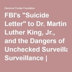 """FBI's """"Suicide Letter"""" to Dr. Martin Luther King, Jr., and the Dangers of Unchecked Surveillance   Electronic Frontier Foundation"""