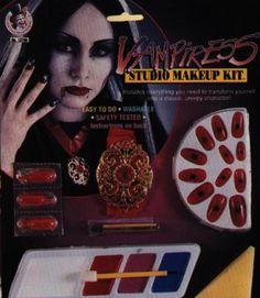 Kit de maquillaje de vampireza, incluye varios colores, accesorios de uñas y un collar