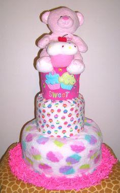 Cupcake Diaper Cake by BabyGiraffeGifts on Etsy, $80.00