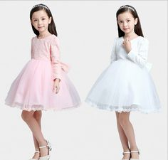 http://babyclothes.fashiongarments.biz/  2016 New Arrival girls fall & winter lace formal dresses children princess dress Floral flower girls party dress with bow, http://babyclothes.fashiongarments.biz/products/2016-new-arrival-girls-fall-winter-lace-for