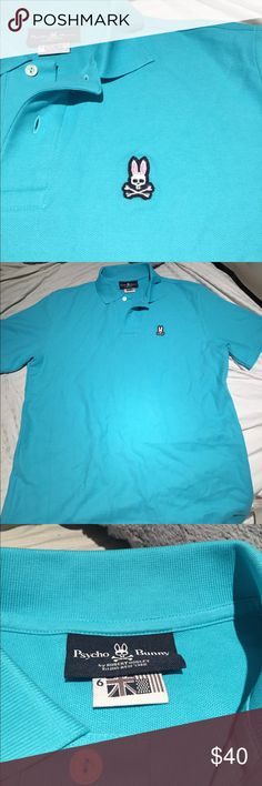 Psycho Bunny Men's Polo Bright blue Psycho Bunny Men's Polo shirt. Never been worn before. It is in perfect condition! Size 6! Psycho Bunny Shirts Polos