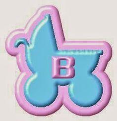 Alfabeto de Carrito de Bebe Celeste con Orilla Rosa.