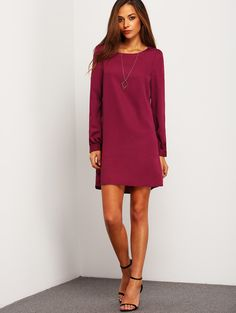 Purple Long Sleeve Casual Dress | MakeMeChic.COM