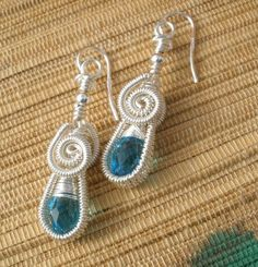 Blue glass drop wire wrapped handmade dangle by catinalife on Etsy, $32.00