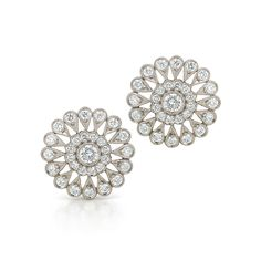 Sunburst diamond stud earrings from the Kwiat Vintage Collection in 18K white gold by Kwiat.