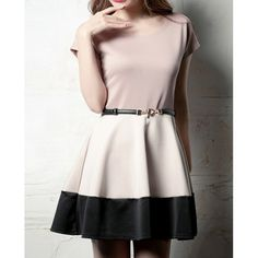 Simple Style Scoop Neck Short Sleeve Color Block Slimming Polyester Women's Dress