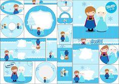 Frozen Niñas para Navidad Azul: Etiquetas para Candy Bar para Imprimir Gratis.