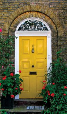 Marvelous Front Door Designs Revealing Adorable Home : Yellow Front Door