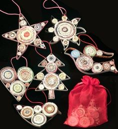 Recycled Magazine Ornament Set