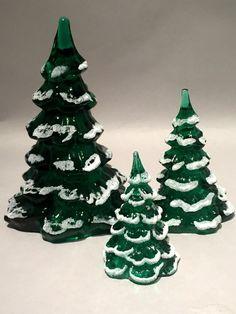 FENTON/GOEBEL 3 SNOW CAPPED CHRISTMAS TREES EMERALD GREEN Mint in Box