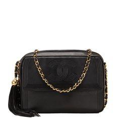 Chanel Vintage Black Lambskin Tasseled Camera Shoulder/Crossbody Bag Gold Hardware (Pre-loved)