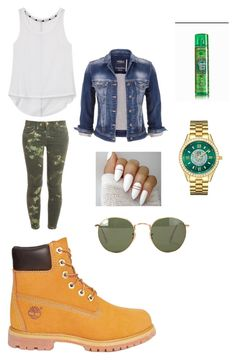 """yah? or Nah?"" by slayxalanda ❤ liked on Polyvore featuring Rebecca Minkoff, Current/Elliott, Ray-Ban, maurices, Timberland and JBW"