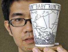 Coffee cup artist Cheeming Boey, a Sharpie partner in inspiring others to start something.