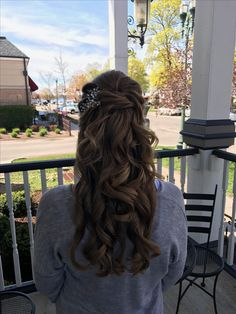 Curled and pinned bridal style for long hair
