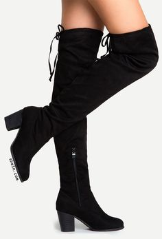 Black Suede Lace Up Over The Knee Boots.