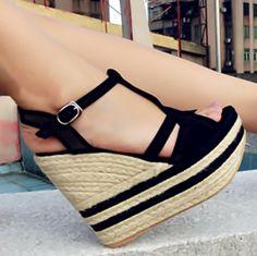 Women's shoes straw braid fashion women's wedges platform shoes sandals 618 - 19 beige black € 19,98