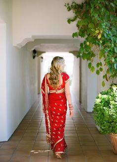 Red wedding sari