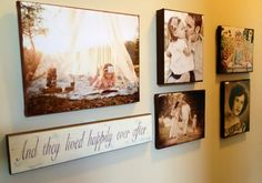 I love this idea! ...and I have that same sign in our bathroom right now! Mod-Podge Pictures to Canvas.