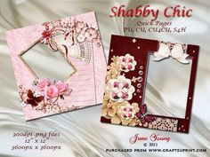 """Shabby Chic Quick Pages on Craftsuprint designed by June Young - Two shabby chic style quick pages featuring flowers, butterflies, fan and ribbons, one on a pink background and one on a maroon background. These pages are 12"""" x 12"""" 300dpi .png files with transparent backings. They can easily be re-sized for card-making and matching decoupage card sheets are available. Commercial use is OK as long as they form part of your own flattened design and are not sold on 'as is'. - Now available for…"""