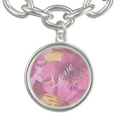 Love & Soft Flowers Silver Round Charm Bracelet by #MoonDreamsMusic #SilverCharmBracelet #Love&Flowers #ValentinesDay