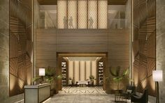 I like the idea of floor to ceiling panels to heighten the room.  Hotel Lobby designed by BBG-BBGM.  Principles of Interior Design Balance
